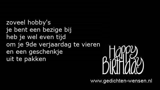 Iets Nieuws Verjaardagsteksten 9 jaar jongen of negen jarig meisje &CU05