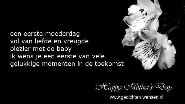 Gedichten eerste moederdag met bloemen en leuk geschenk